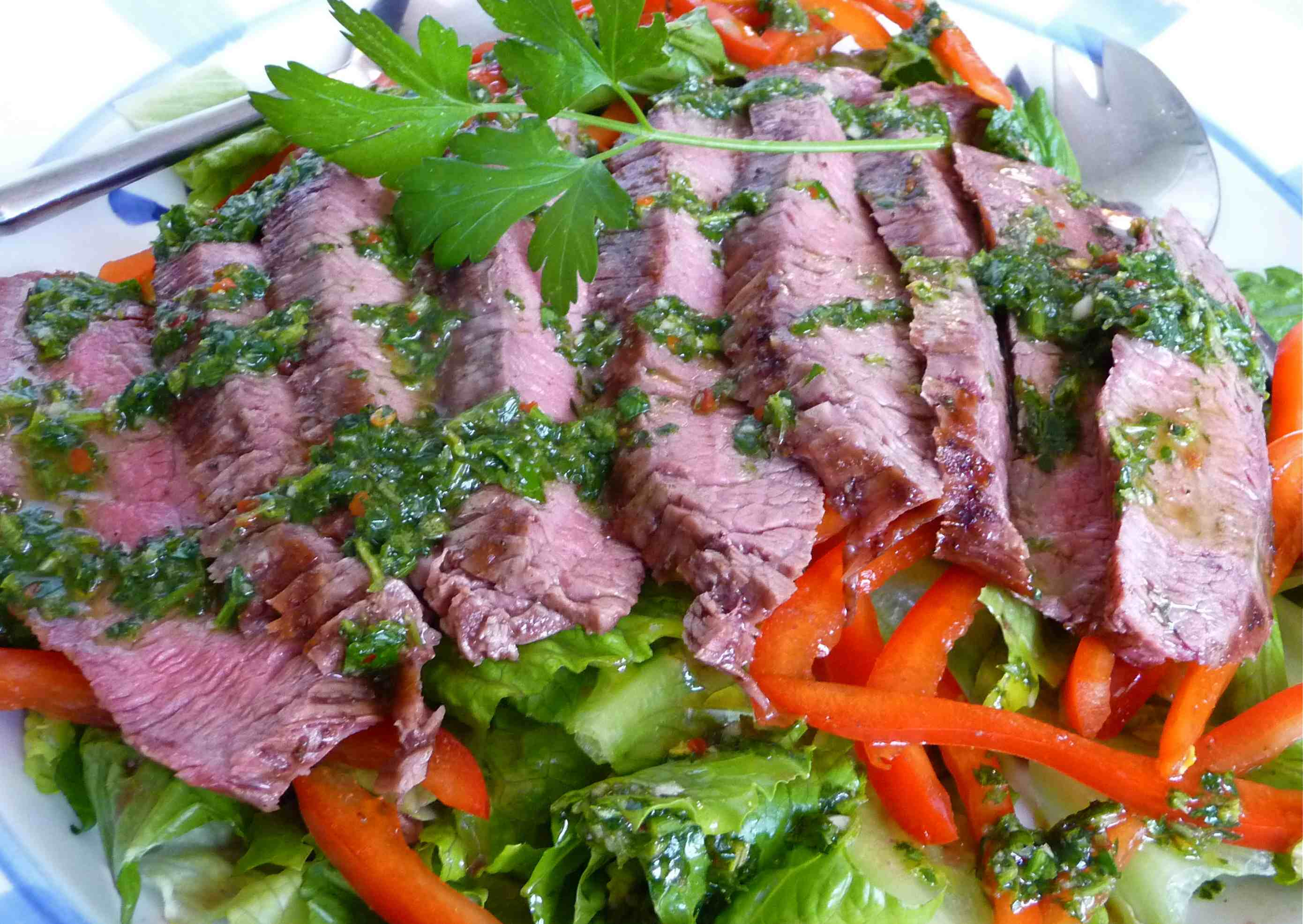 Grilled Flank Steak Salad with Chimichurri Dressing | Tasty Kitchen: A ...