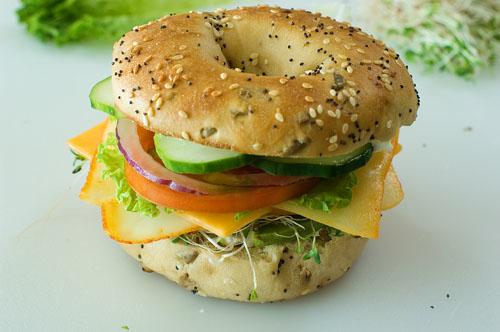 Veggie and Cheese Bagel Sandwich   Tasty Kitchen: A Happy ...