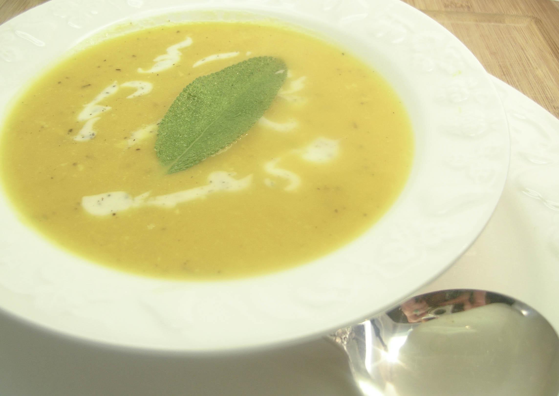 Roasted Butternut Squash Bisque with Sage Cream | Tasty Kitchen: A ...