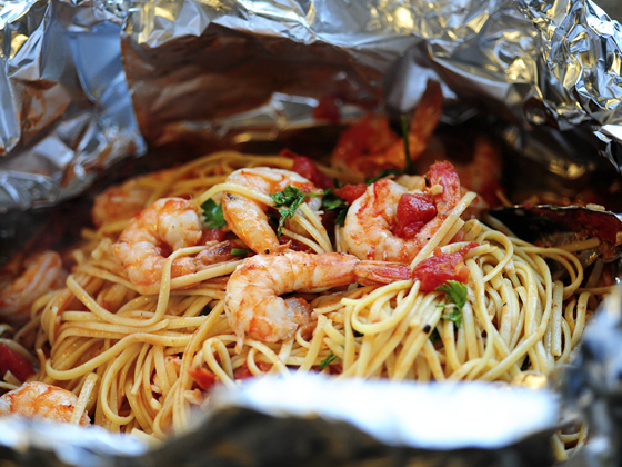 Shrimp Pasta In A Foil Package Tasty Kitchen A Happy