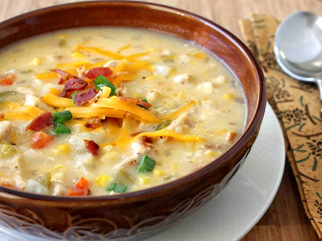 Chicken Corn And Potato Chowder With Green Chiles Cheddar Cheese