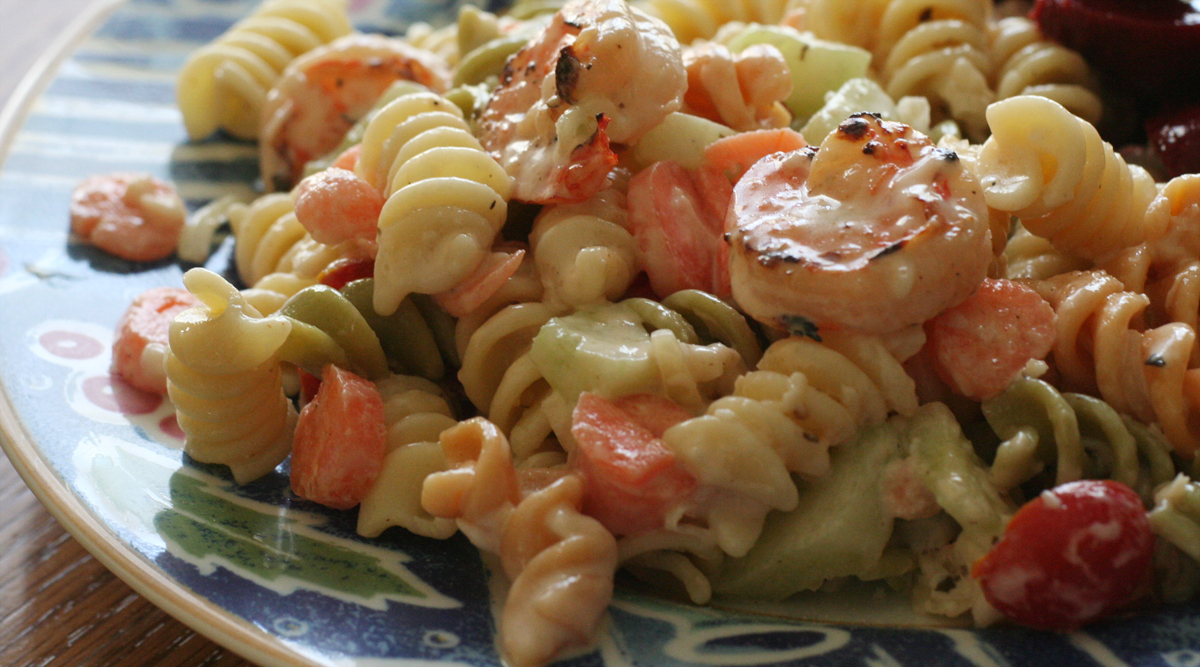 Easy peasy grilled shrimp pasta salad tasty kitchen a for Prawn and pasta salad recipes