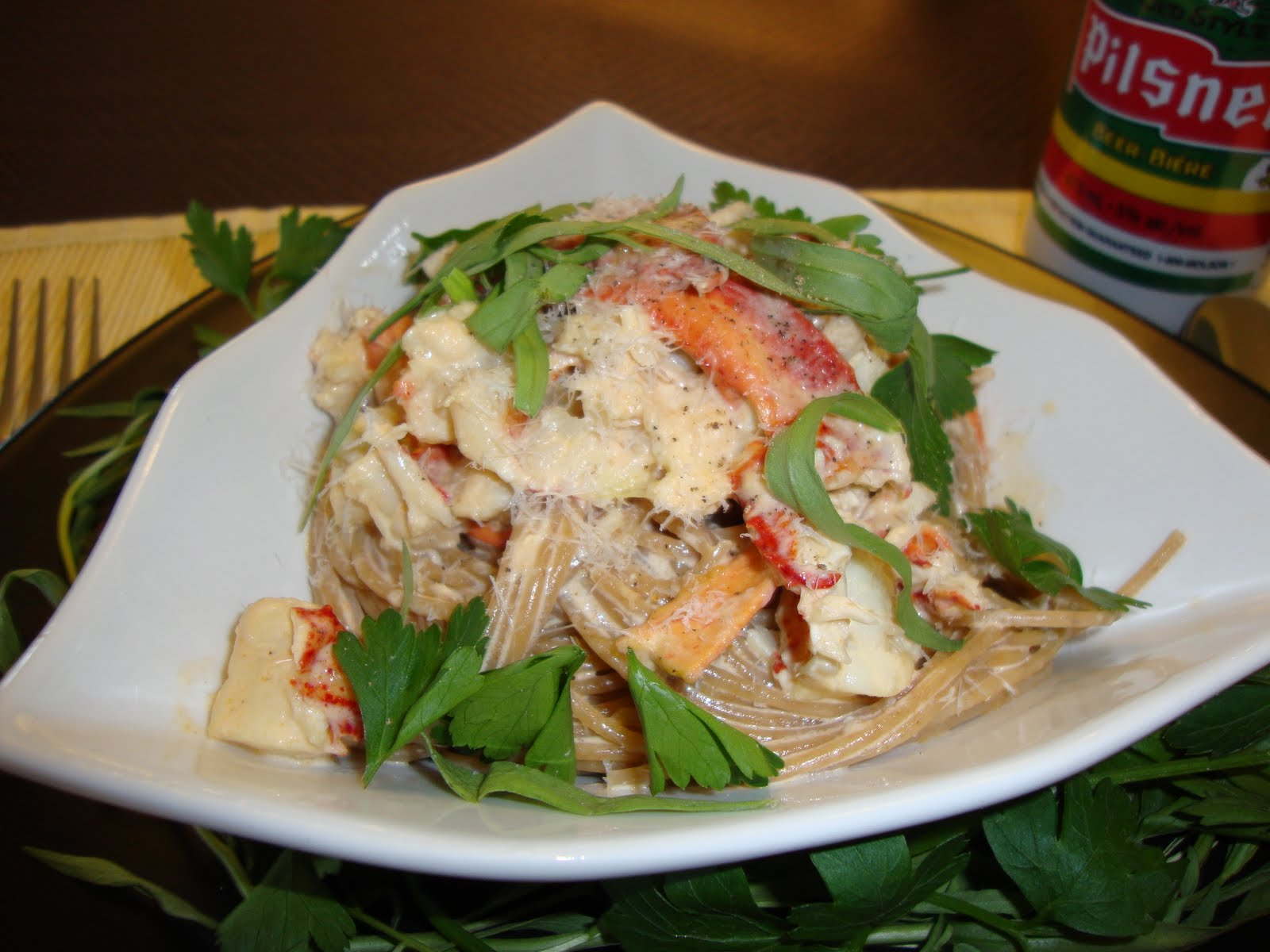 Lobster pasta with herbed cream sauce tasty kitchen a for How to make lobster pasta
