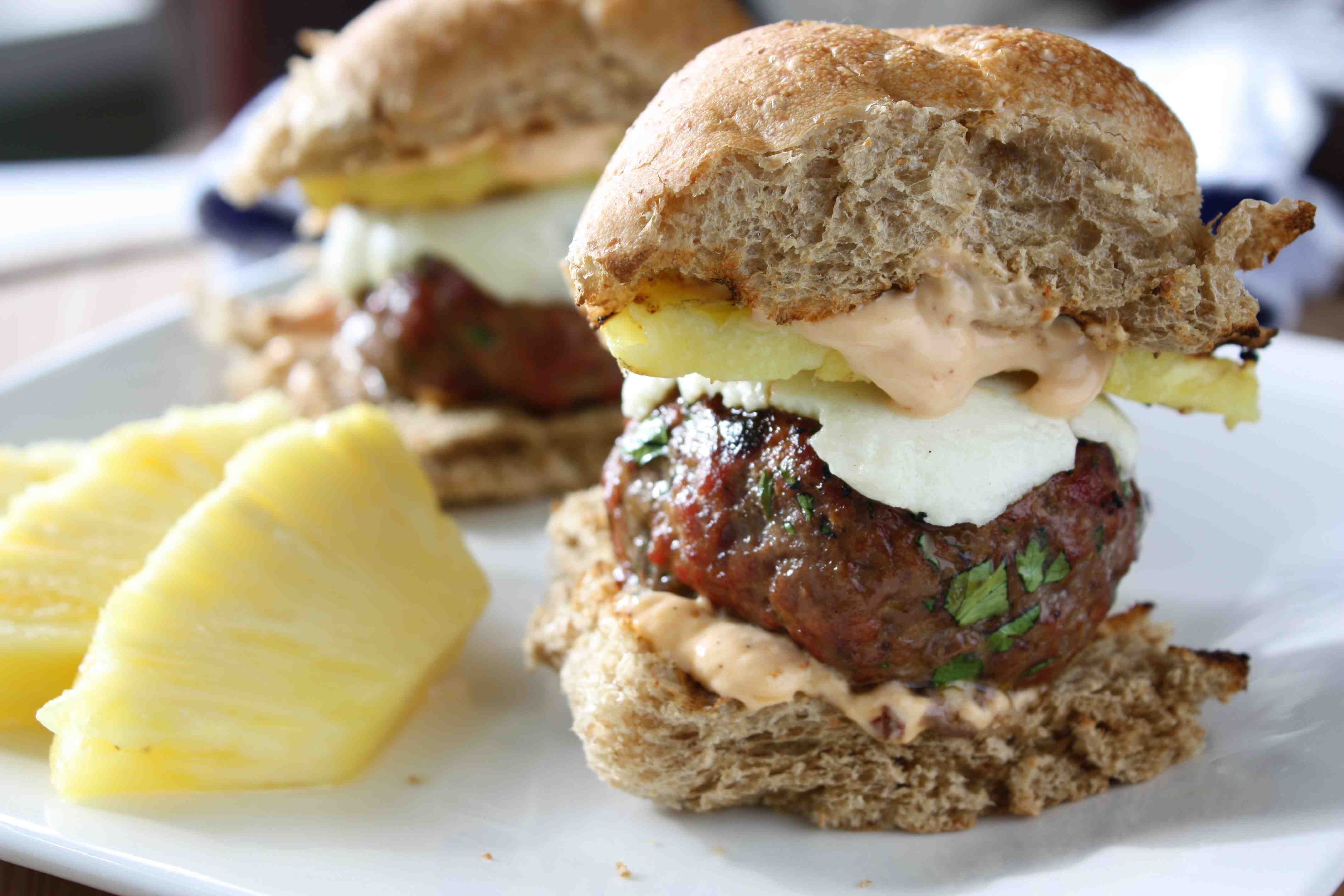 Smoky Burger Sliders with Grilled Pineapple & Chipotle Mayo | Tasty ...