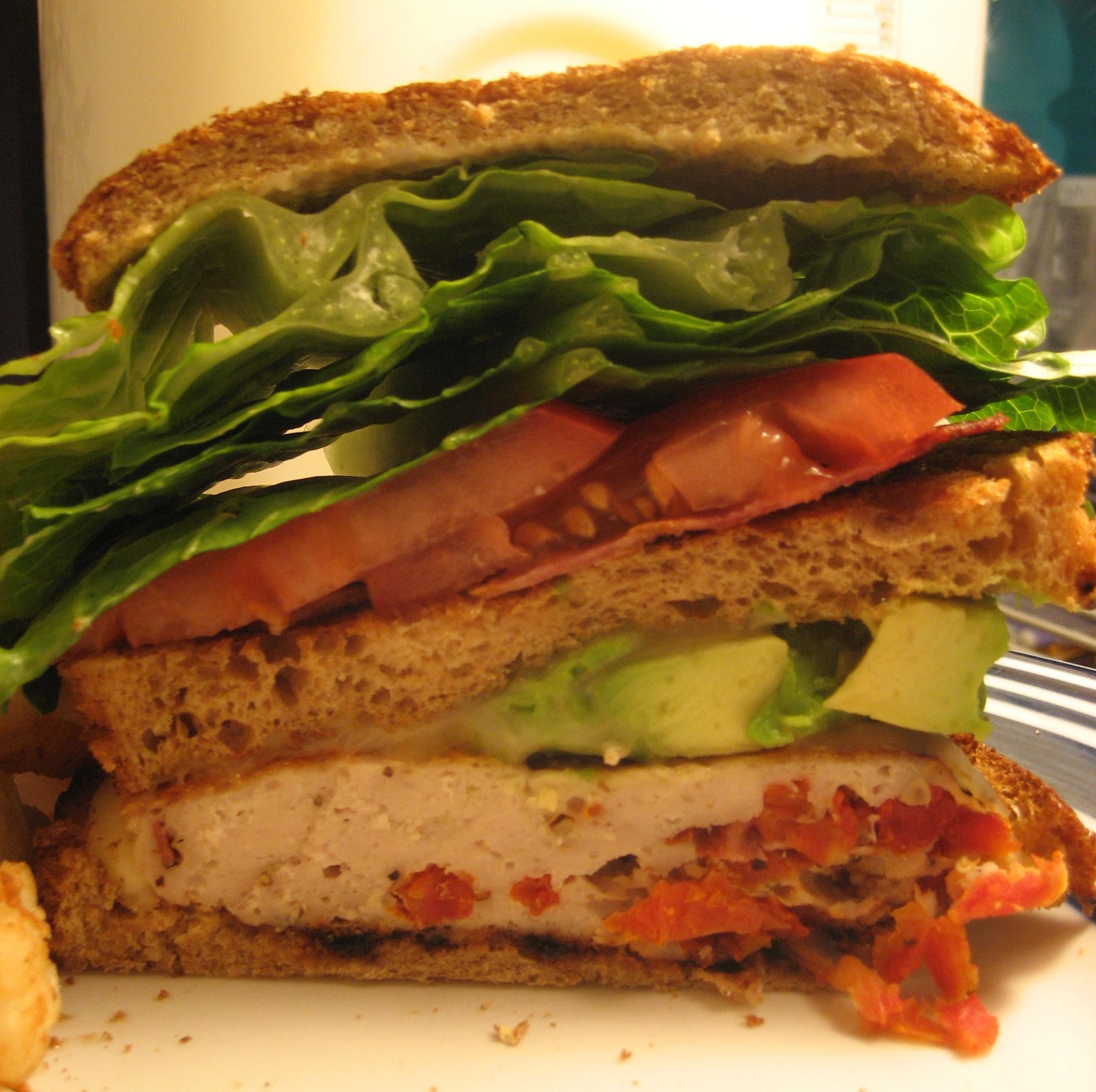 stuffed turkey burger club sandwich with avocado tasty kitchen