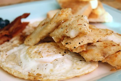 Fried fish and eggs breakfast tasty kitchen a happy for Fish eggs food