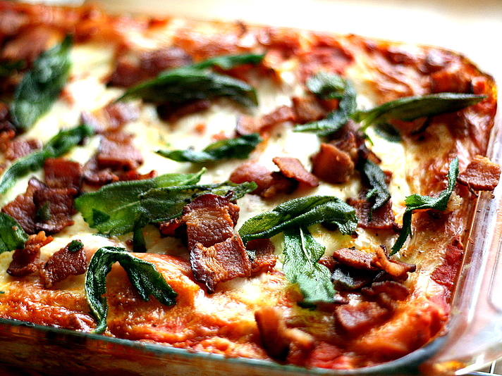Roasted Butternut Squash Lasagna with Goat Cheese, Bacon, and Fried ...
