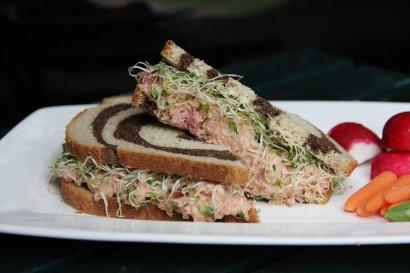Deviled Ham Salad On Marbled Rye Bread