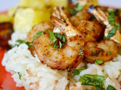 Spicy Shrimp with Grilled Pineapple & Coconut Rice Pilaf | Tasty ...