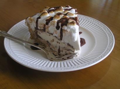 mores Dark Fudge Ripple Ice Cream Cake with Warm Milk Chocolate ...