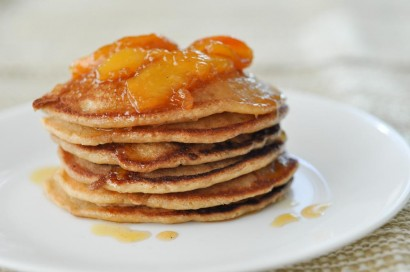 Double Coconut Pancakes with Vanilla Peach Sauce | Tasty Kitchen: A ...
