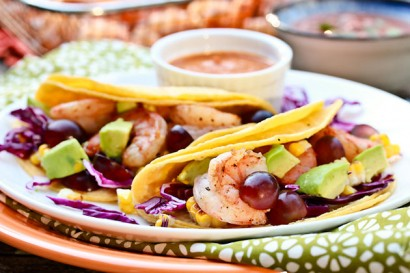 Shrimp Tacos with Grilled Corn, Grapes, and Creamy ...
