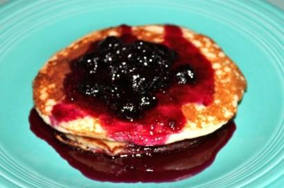 Lemon Yogurt Pancakes with Blueberry Syrup | Tasty Kitchen ...