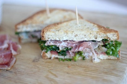... Kale and Caramelized Shallot Sandwich with Garlic Goat Cheese Spread