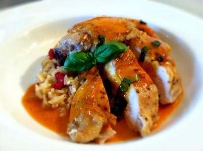 roasted chicken with red thai curry beurre blanc & roasted red