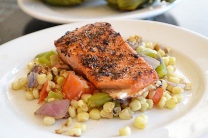 Grilled Salmon with Roasted Corn Relish | Tasty Kitchen: A Happy ...