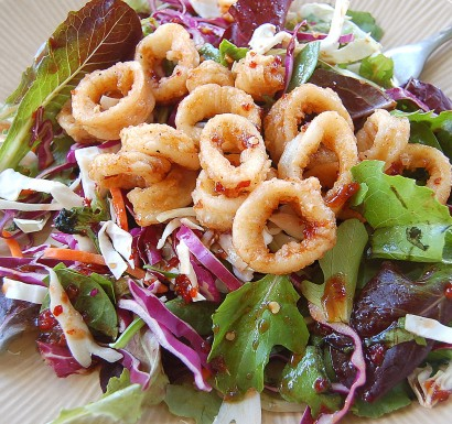 Asian Salad With Fried Calamari Tasty Kitchen A Happy