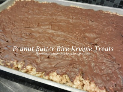 Peanut Butter Rice Krispie Treats With Chocolate Butterscotch Topping