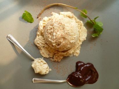 Homemade Coffee Ice Cream and Dark Chocolate Sauce | Tasty Kitchen: A ...