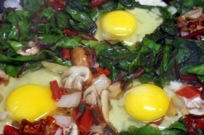 Eggs Nested in Swiss Chard , Mushrooms and Sun-Dried Tomatoes | Tasty ...