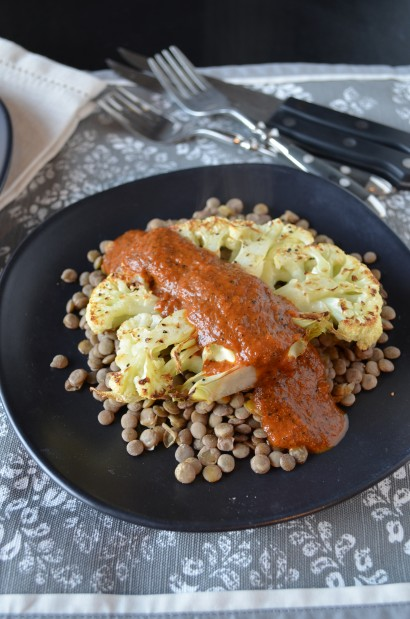 Cauliflower Steaks with Charred Red Pepper Sauce and Lentils | Tasty ...