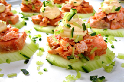 Asian barbecued salmon canapes tasty kitchen a happy for Canape kitchen