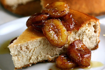 Peanut Butter Yogurt Cheesecake with Caramelized Bananas | Tasty ...