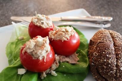 Tuna Salad Stuffed Tomatoes Made With Greek Yogurt