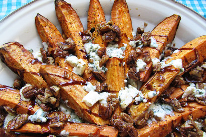 Roasted Sweet Potatoes with Blue Cheese & Spicy Candied Pecans | Tasty ...