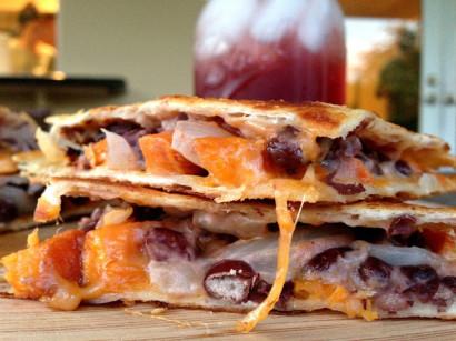 Roasted Sweet Potato, Black Bean and Goat Cheese Quesadillas | Tasty ...