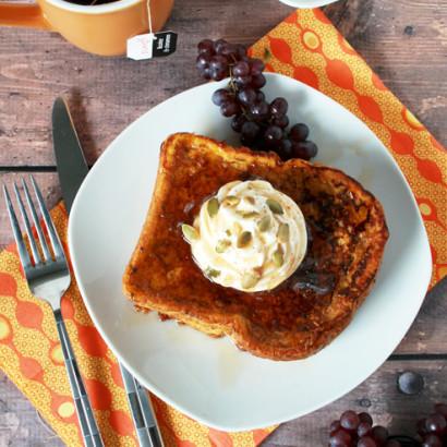 Pumpkin Pie French Toast with Cinnamon Whipped Cream | Tasty Kitchen ...
