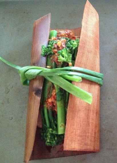 "Slightly Spicy Chicken, Potato & Broccolini ""Cedar Wrap"" Roll Ups ..."