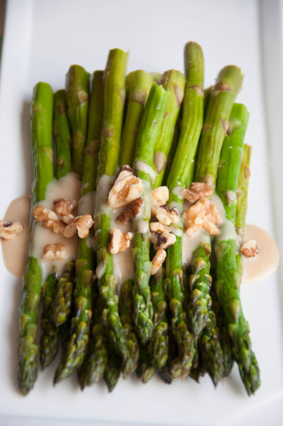 Roasted Asparagus with Honey Maple Tahini Sauce | Tasty Kitchen: A ...