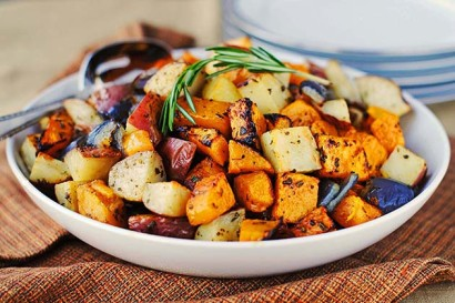 Roasted Butternut Squash Onions And Red Potatoes With
