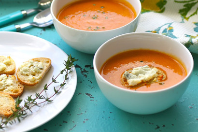 roasted tomato and blue cheese soup