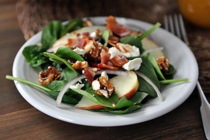 Spinach Salad with Sweet-Spicy Nuts, Apples, Feta and Bacon (My Most ...