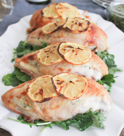 Goat Cheese Stuffed Chicken Breasts with Rustic Basil Pesto | Tasty ...