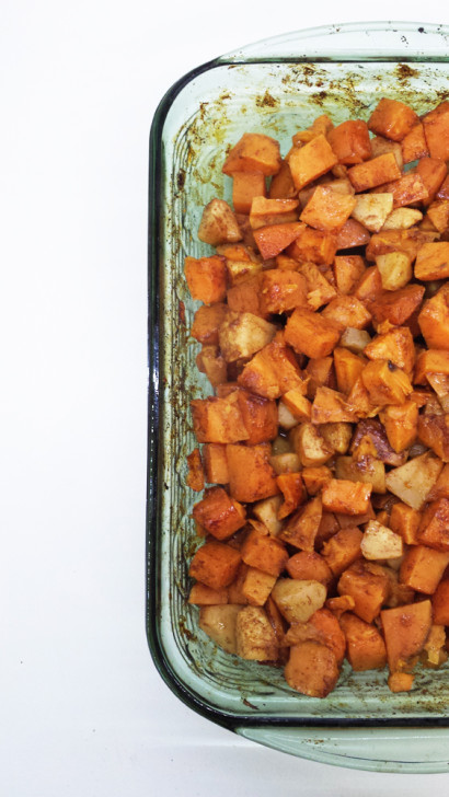 how to bake a sweet potato cut into cubes