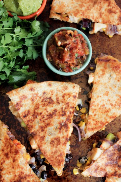 Spicy Chicken Quesadillas with Corn, Black Beans and Caramelized ...
