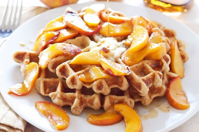 Whole Wheat Waffles with Bourbon Peaches | Tasty Kitchen: A Happy ...