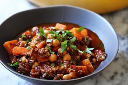 Lamb Chili With Chickpeas And Raita Recipe — Dishmaps