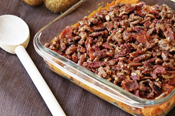 Maple Bourbon Sweet Potato Casserole with Sweet and Spicy Bacon Pecans