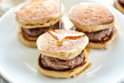 Buttermilk and Cinnamon Mini Pancake Breakfast Sandwiches with