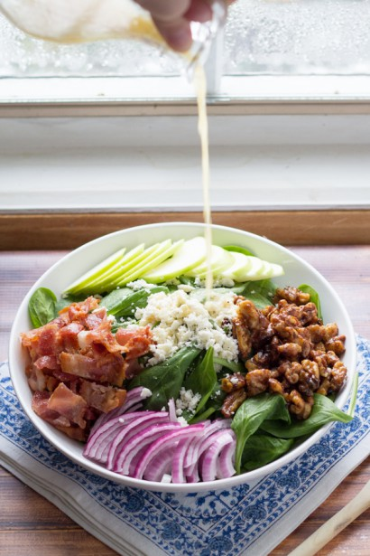 Spinach Salad with Apples, Bacon and Spicy Maple Walnuts | Tasty ...
