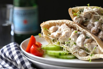 Chicken and Chickpea Salad Pita Sandwiches with Broccoli Sprouts