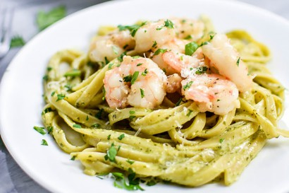 Creamy Pesto Pasta With Garlic Butter Shrimp Tasty