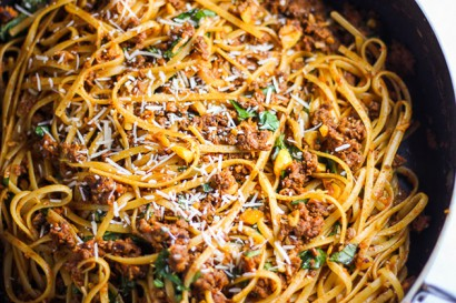 simple beef linguine pasta with parmesan and basil tasty kitchen