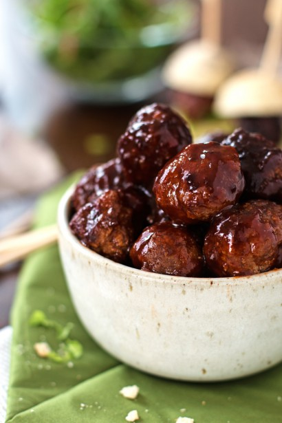 Sticky bbq slow cooker meatballs tasty kitchen a happy for Meatball appetizer recipe crockpot