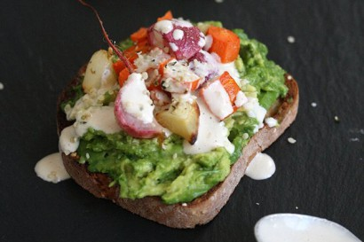 ... Goddess Avocado Toasts with Roasted Spring Vegetables and Tahini Sauce