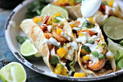 Smoky Shrimp Tacos with Chorizo Beans & Mango Salsa | Tasty Kitchen: A ...
